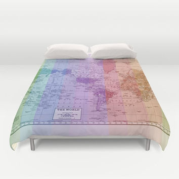 Rainbow Map Duvet Cover - World Map bed - bedroom, travel decor, cozy soft, colorful, dorm, apartment, warm, wanderlust