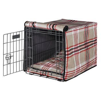 MicroVelvet Luxury Dog Crate Cover — Turnberry Plaid