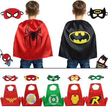 D.Q.Z 50*70 cm Toddler Superhero Cape Mask Fancy Kids Costume Cosplay Shower Cloak Summer Gifts Bible Camp Cosplay Activity Toy