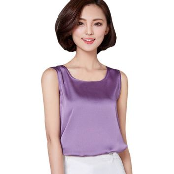 Women Summer Soft Comfortable Solid Color Sleeveless Short Imitated Silk Tank Clothes  Tops Vest