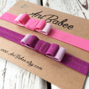Baby headband, pink baby headband,Baby bow headbands, baby headband set, shabby chic, girls headband, teen, womens, infant headband