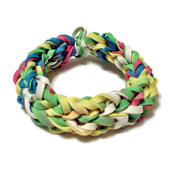 Upcycled Bangle Bracelet Made w/ Recycled Rubber Bands - Colored Rubber Band Bangle w/ Red, Yellow, Blue, Green, and White