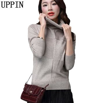 UPPIN 2018 New Loose Women Oversized Basic Knitted Turtleneck Sweater Female Casual Solid Turtleneck Collar Pullover Warm Jumper