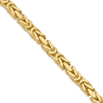 5.25mm, 14k Yellow Gold, Solid Byzantine Chain Necklace