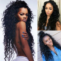 Long Deep Curly Lace Front Synthetic Full Natural Hair Wigs Women Heat Resistant