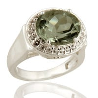 925 Sterling Silver Genuine Green Amethyst & White Topaz Cocktail Ring