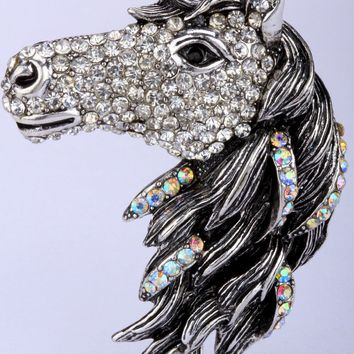 SHIPS FROM USA Horse stretch ring for women antique gold silver color animal jewelry gifts W crystal