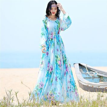 Long Sleeve Bohemian  Chiffon Maxi Dress Available in Plus Size
