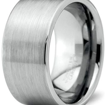 Men's Tungsten Wedding Band Pipe Cut and Brushed Polished Comfort Fit - 12mm