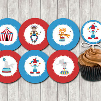 Instant dowonload -party printables-circus animals-circus party printable-circus cupcake toppers-kids birhday party