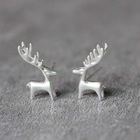 Silver Deer Earrings, Sterling Silver Deer Stud Earrings, Elk Earrings, Deer Antler Earrings, Animal Earrings, Deer Studs, Deer Jewelry