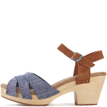 Toms for Women: Beatrix Chambray Brown Suede Clog Sandals