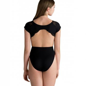 Motionwear Women's Pinched Front, Side Cutout Scallop Lace Leotard