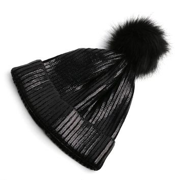 2018 Hot Autumn winter bronzing beanies hat unisex knitted wool Skullies casual cap fur pompom solid colors ski gorros cap