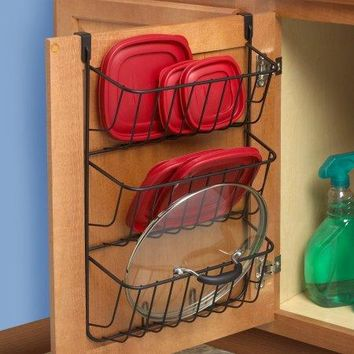 Kitchen Over The Cabinet Cookware Pot & Pan Lid Tupperware Top Organizer Rack Holder