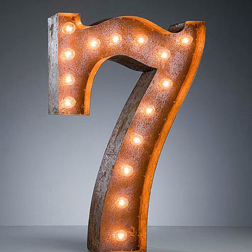 FREE SHIPPING Vintage Marquee Lights - Number 7