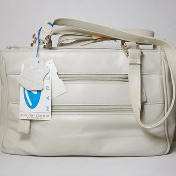 Large Off White Genuine Leather Purse with Shoulder Strap Vintage Marlo Handbag Zippers Large Compartments with Tags