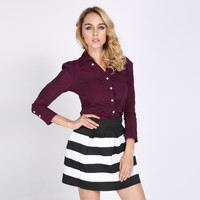 Wine Red Long Sleeve Blouse with Collar and Buttons