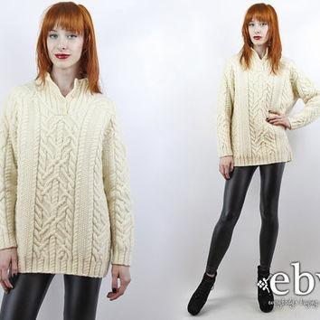 Vintage 90s Ralph Lauren Cream Cable Knit Sweater Cream Sweater Chunky Knit Oversized