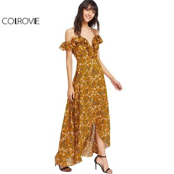 Women Yellow Frill Cold Shoulder Wrap Dresses Calico Print Sexy Zip High Low Dress