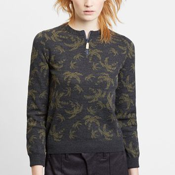 Women's Julien David Palm Tree Intarsia Knit Wool Sweater,