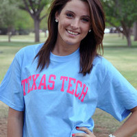 Baby Blue w/ Hot Pink Texas Tech Arch Tee