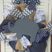 Elephant Nursery Navy Gray Nursery Wreath Baby  Hospital Door Elephant Baby Shower Baby Decor Elephant Baby Nursery Welcome Baby Wreath