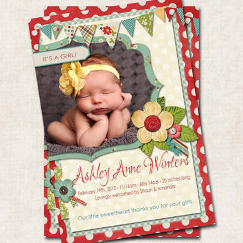 Baby Girl Birth Announcement Thank You Shower, red blue green, floral, Digital File
