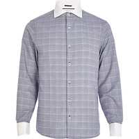 River Island MensNavy check contrast cut away collar shirt