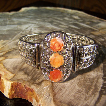 Sterling Silver Mexican Fire Opal Hand Made Cuff Bracelet