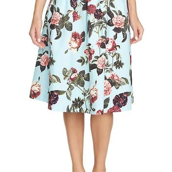 CeCe by Cynthia Steffe 'Bouquet Estate' Floral Print Full Skirt | Nordstrom