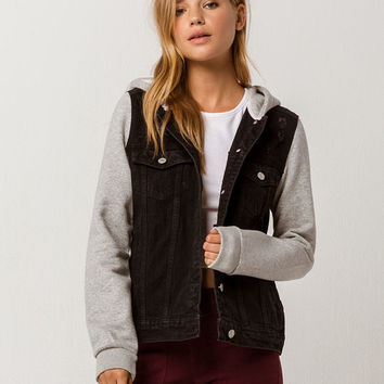 SKY AND SPARROW Fleece Sleeve Womens Ripped Denim Jacket