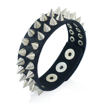 Gothic Delicate Cuspidal Spikes Rivet Cone Stud Cuff Black Leather  bracelets & bangles Punk Bracelet for women men jewelry