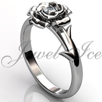 Flower Engagement Ring - Platinum diamond unusual unique rose flower engagement ring, bridal ring, wedding ring, anniversary ring ER-1111