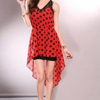 Red Black High Low Hem Polka Dot Sleeveless Floral Trim Dress @ Amiclubwear sexy dresses,sexy dress,prom dress,summer dress,spring dress,prom gowns,teens dresses,sexy party wear,women's cocktail dresses,ball dresses,sun dresses,trendy dresses,sweater dres