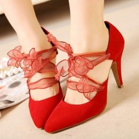 Women Korean Pointed Toe High Heels Detachable Straps Pumps Solid New Shoes 1na