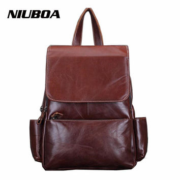 NIUBOA 100% Genuine Leather Backpack Woman Soft First Layer Real Leather Back Pack Korean Lady Daily Backpack School Daypack