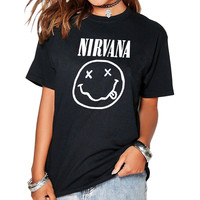 2017 Fashion Harajuku Casual Women's T-Shirts Punk Rock NIRVANA Cotton tumblr tshirt Casual poleras Hipster For Famale Top