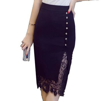 Women's Skirt High Waist Pencil Skirt Summer Fashion Women Knee Length Lace office Lady Formal Skirts