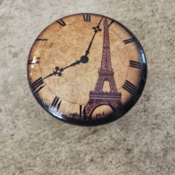 "Handmade Knobs Drawer Pulls, Vintage Paris Clock Style Cabinet Pull Handles, 1.5"" French Dresser Knobs, Eiffel Tower, Made to Order"