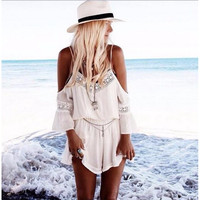 Lace Chiffon White Beach Romper