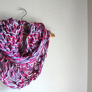 Pink Hand Knit Scarf , Knitted Infinity Scarf- Chunky scarf - Pink White and Purple