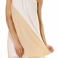 Taupe & White Color Block Chiffon Dress