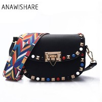 ANAWISHARE Women Messenger Bag Leather Rivet Crossbody Bags For Girls Small Shoulder Bags Handbags Bolsa Feminina Bolsos Muje