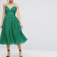 ASOS PETITE Lace Cami Midi Prom Dress at asos.com