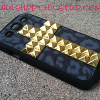 Samsung Galaxy s3 Black Leopard Phone Case Studded Silver OR Gold Stud Cross