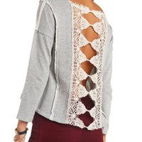 Crochet Back Boxy Pullover Sweatshirt by Charlotte Russe - Gray