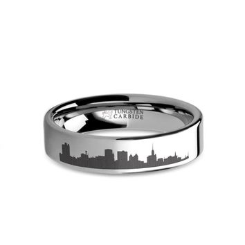 Buffalo City Skyline Cityscape Laser Engraved Tungsten Ring