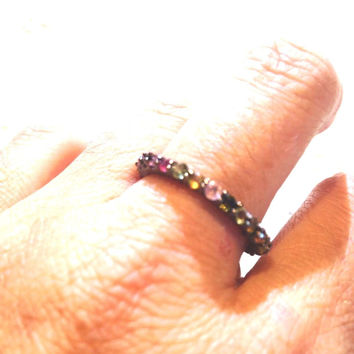 Vintage Genuine Tourmaline Wedding Eternity Band 925 Sterling Silver Ring