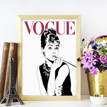 FASHION ART VOGUE Audrey Hepburn Vogue Cover Poster,More Issues Than Vogue,Vogue Wall Art,Fashion Illustration,Vogue Magazine,Printable Art